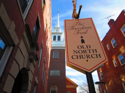 """Old North Church (officially, Christ Church in the City of Boston), at 193 Salem Street, in the North End of Boston, is the location from which the famous """"One if by land, and two if by sea"""" signal is said to have been sent. This phrase is related to Paul Revere's midnight ride, of 18 Apr 1775, which preceded the Battles of Lexington and Concord during the American Revolution. The current building dates to 1723."""