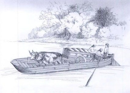 """In 1648, Moses Wheeler became the ferryman. We don't know what the ferry looked like, but it was described as similar to a """"gundalow"""". It lasted for 155 years."""