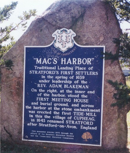 First Settlers Monument, Mac's Harbor, Stratford, Connecticut