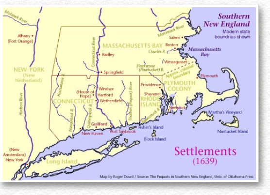 Southern New England settlements as of 1639