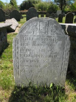 Lydia (Moore) Minor - Gravestone - Wequetequock Burial Ground, Stonington, New London, Connecticut
