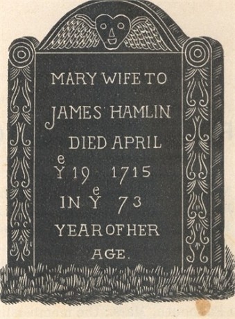 Mary (Dunham) Hamlin (1642-1715); Lothrop Hill Cemetery, Barnstable County, Massachusetts - artist's rendering