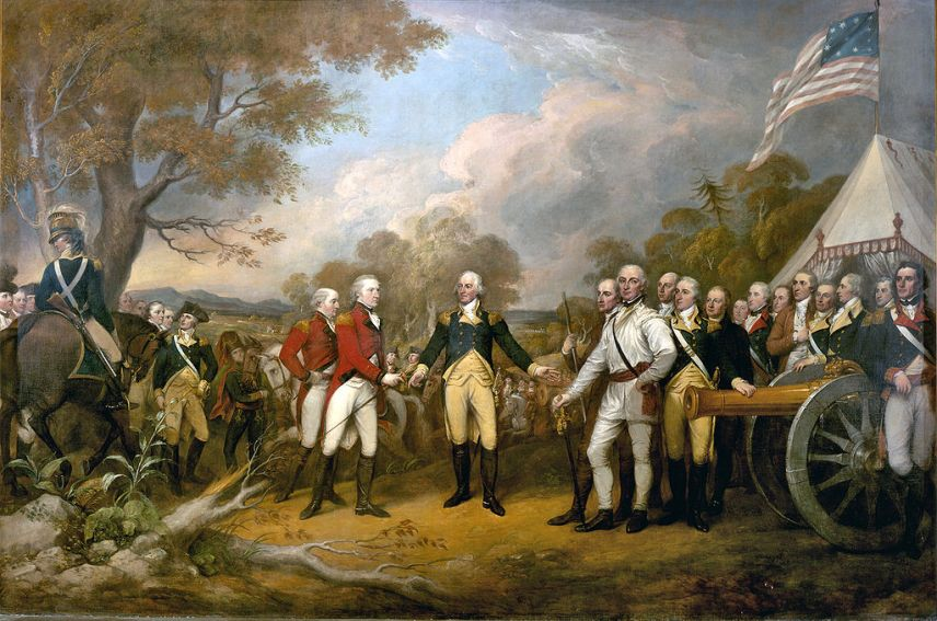 The scene of the surrender of the British General John Burgoyne at Saratoga, on 17 Oct 1777, was a turning point in the American Revolutionary War that prevented the British from dividing New England from the rest of the colonies. Painting by John Trumbull (1756–1843) in 1822.