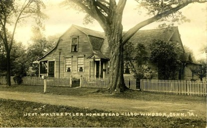 Sepia toned photo postcard of the Walter Fyler House on historic Palisado Green in Windsor, CT. The house is now known as the John & Sarah Strong House and is operated as a historic house museum by the Windsor Historical Society. The house is located on the property originally owned by Lt. Walter Fyler, but more recent research has dated the house's construction to about 1758.
