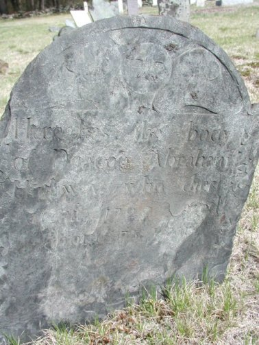 Gravestone for Deacon Abraham Hathaway (1652-1725) - photo credit: Randall Younker