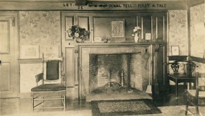 """Interior View of the Betty Alden House: By the late 1800s, Betty Alden Pabodie had become a revered local symbol. The house where she had lived in the late 1600s in Little Compton had become an important destination - known solely as the """"Betty Alden House,"""" her adult life as the wife of William Pabodie was largely overlooked in favor of her romanticized childhood as the first child of the Plymouth Pilgrims."""