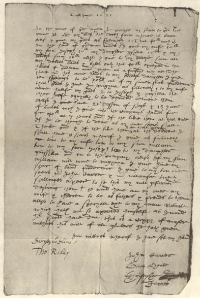 The will of William Mullins was returned to Dorking, Surrey, England for probate after his death in 1621 in Plymouth, Massachusetts.