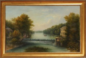 """Speedwell Lake Dam"", painting by Edward Kranich (1826-1891)"