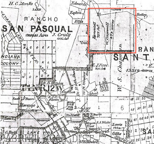 Map location of Cogswell's 473 acre property east of Pasadena (1877)