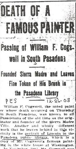 Obituary - The Pasadena Evening Star, 26 Dec 1903