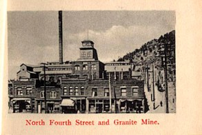 "Photo is part of a ""flip book"" containing 12 photographs. This is photo 8 of 12. Shows front view of 4th Street, Victor, with Granite Mine in background. Road/alley on right side has power poles and one person walking up street. Red ink at bottom of photo reads: ""North Fourth Street and Granite Mine."" (http://cripplecreekmuseum.com/cgi-bin/photograph.cgi?id=2000127H)"