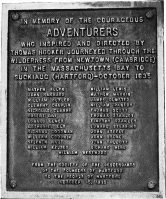Adventurers' Boulder plaque (1935), located at corner of Main and Arch Streets. Image scanned from The Colonial History of Hartford - U.S. Bicentennial Edition, by William DeLoss Love (1974).