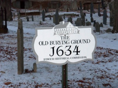 Old North Burying Ground, Ipswich, Massachusetts - Penny Bernard painted a new sign for the Old North Burying Ground preservation project (January 2015, from the website of Ipswich Historical Commission).