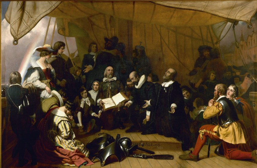 Robert Walter Weir's 'Embarkation of the Pilgrims' hangs in the rotunda of the U.S. Capitol
