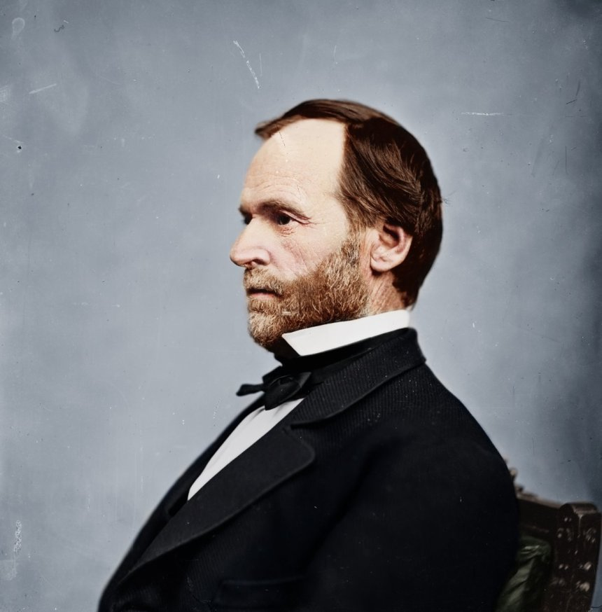 """This is a portrait of General William Tecumseh Sherman in civilian clothes. During Sherman's famous """"March to the Sea,"""" the Union Army destroyed nearly everything in its path, both military and civilian, on its way to Savannah, Georgia. (Color by Reddit User Zuzahin/Photo Courtesy Library of Congress)"""
