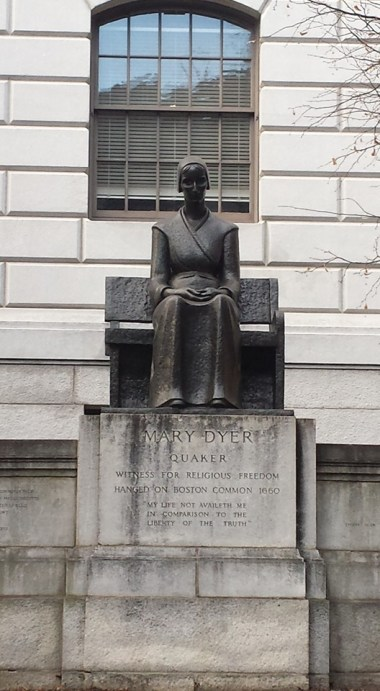Mary Dyer statue, Boston, Massachusetts (photo credit: Darlene Spencer, 26 Dec 2015)