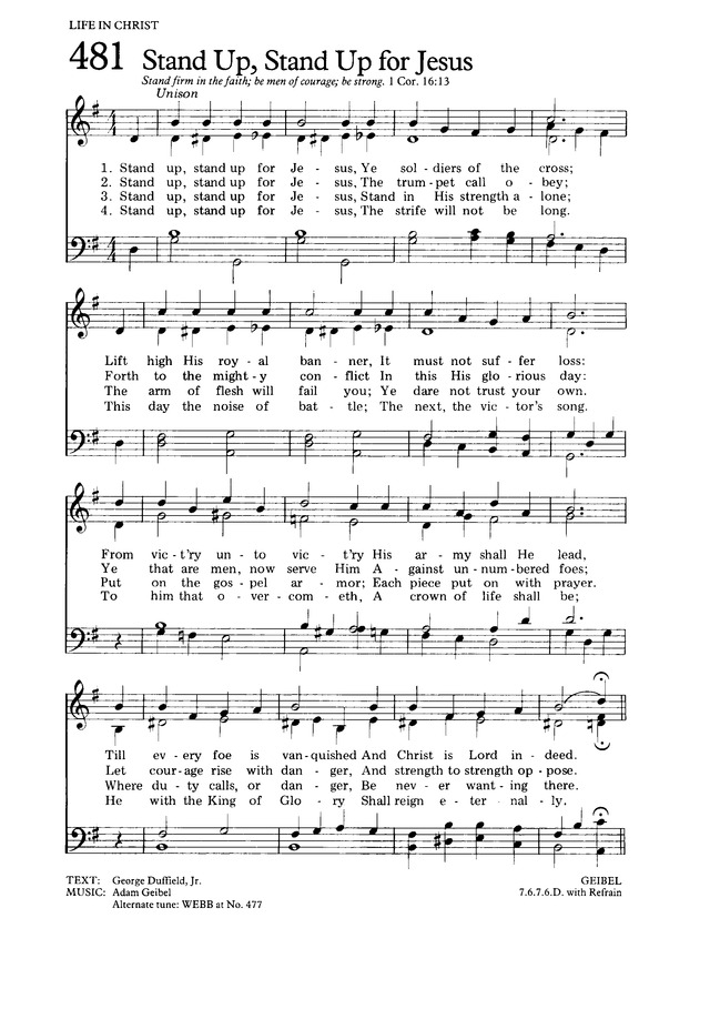 The Hymnal for Worship and Celebration 481. Stand up. stand up for Jesus | Hymnary.org