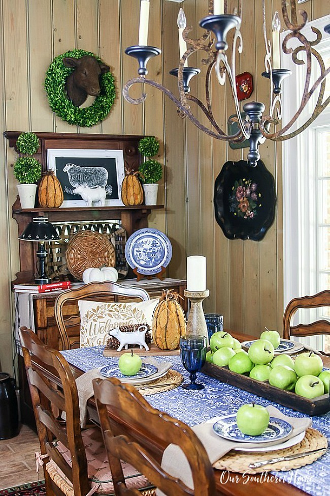 Blue and White Fall Tablescape - Our Southern Home