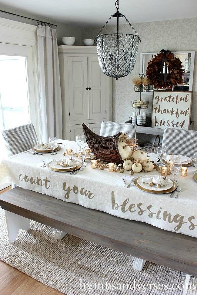 DIY Thanksgiving Tablecloth - Hymns and Verses