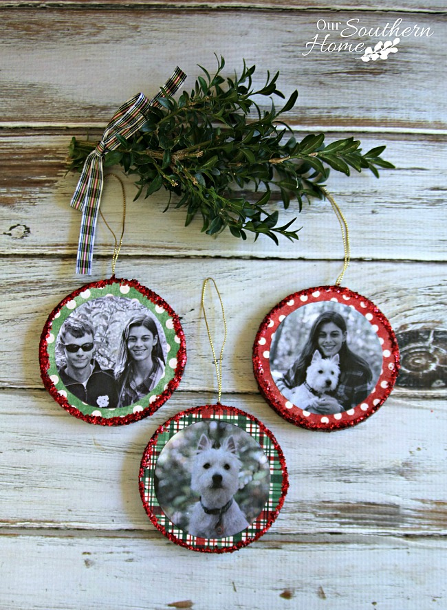 DIY Mod Podge Photo Ornaments - Our Southern Home