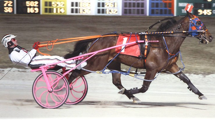 Kaydon Begone winning a race at Maywood Park on March 9, 2012