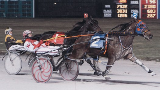 Kaydon Begone winning a race at Maywood Park on January 11, 2013