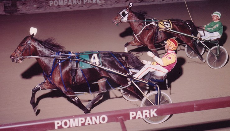 Stylish Genie winning at Pompano Park. Stylish Genie was the first horse I ever trained.  She was owned by Jerry Diamond.  This is her first race for me where she won and set her lifetime mark at pompano Park on December 6, 1990.