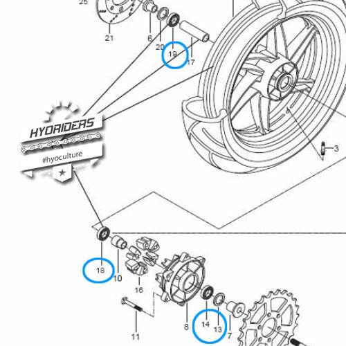 Front Rear Wheel Sprocket Bearings Kit Hyosung GV GT 125 250 650 R ST7