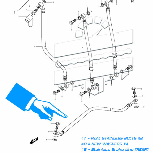 Stainless Steel Rear Brake Line (Hose Kit) :: Hyosung GT125R GT250 GT650 GT125