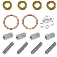 Header Pipe Copper Exhaust Gasket & Full Stainless Stud Nut Kit :: Hyosung