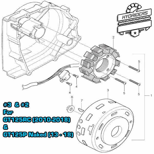 Performance Magneto Stator Generator Coil GT125RC 2010-2018 Hyosung (Custom Kit)