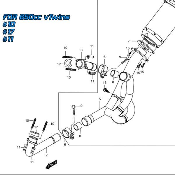 hyosung gt650 gt650r gv650 exhaust pipe muffler gasket kit copper ring