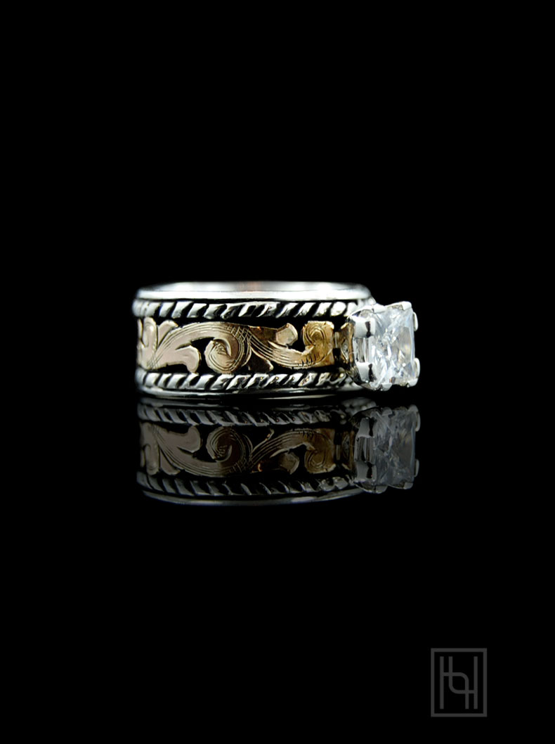 Rope  Scroll Solitaire Ring  Hyo Silver
