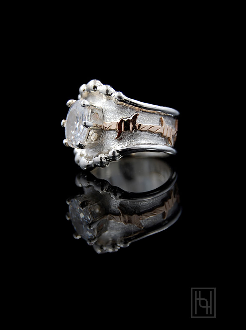 Barbed Wire Amp Oval Crystal Ring Ring Collection By Hyo Silver