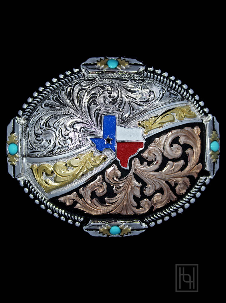 Texas Two Step Belt Buckle With Turquoise Hyo Silver