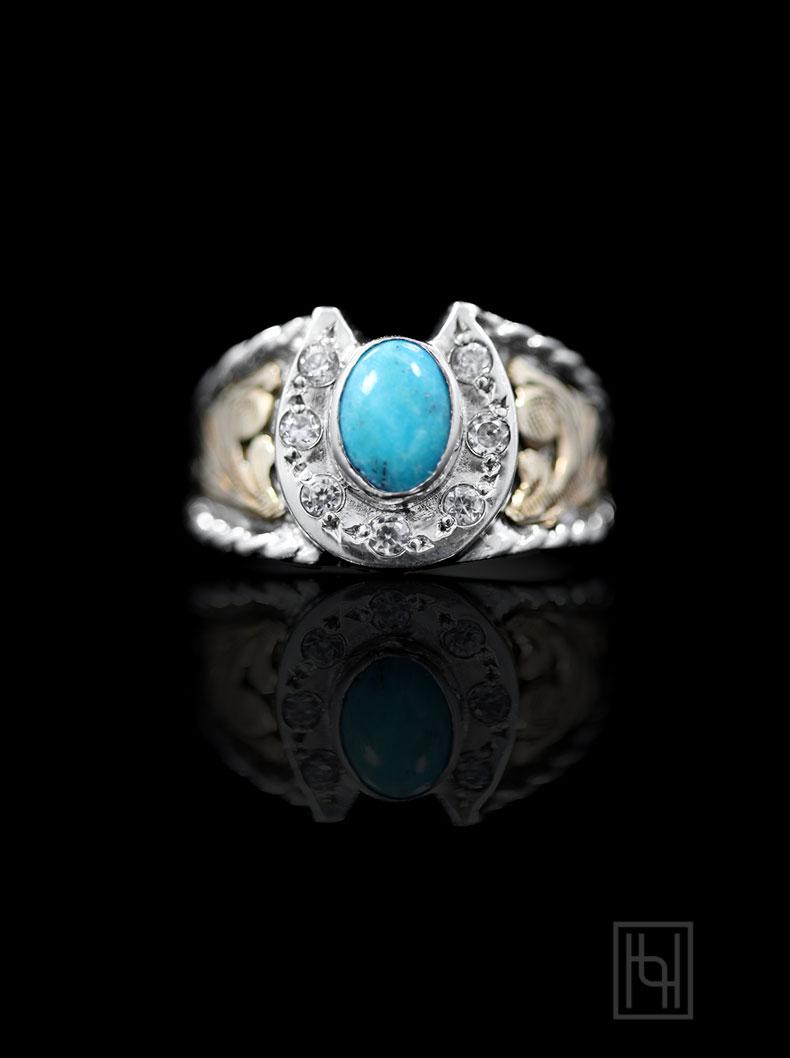Horseshoe & Turquoise Ring - Hyo Silver
