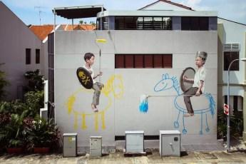 Boys Playing Johor Bahru Street Art
