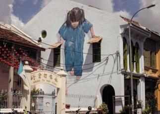 Girl in Blue Street Art Georgetown Penang
