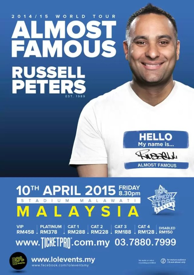 Russell Peters Almost Famous World Tour Malaysia