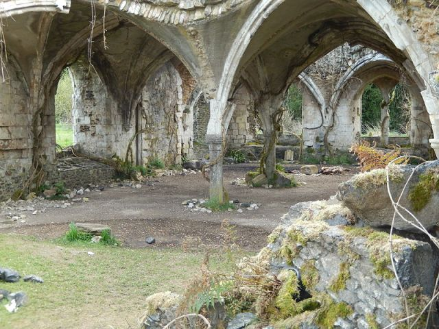 """The refectory at Waverley Abbey with fake vines and rubble added for use as a film set for """"The Huntsman: Winter's War"""". (Source: Wikipedia)"""