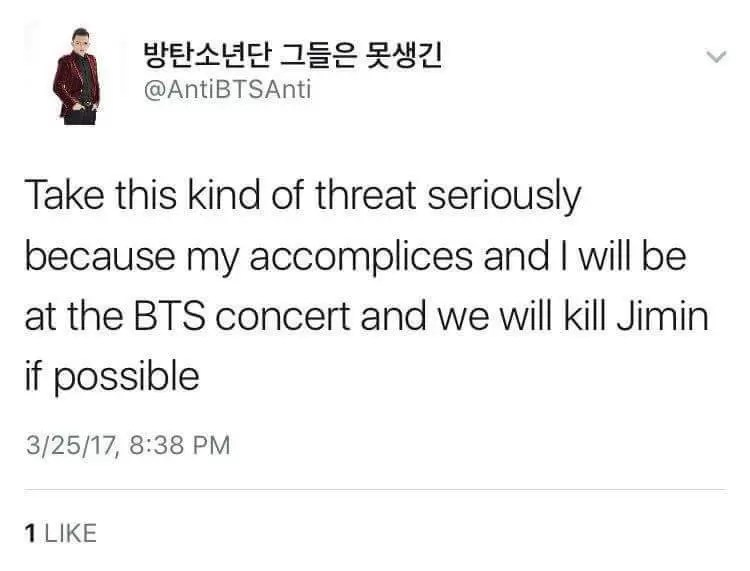 UPDATE) #BTS: Twitter User Threatens To Kill Jimin During
