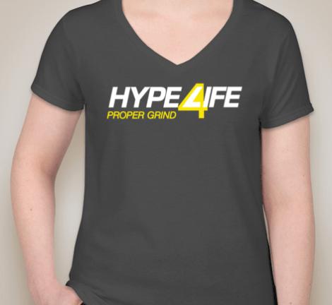 Hype4Life Women's V-Neck (DARK GRAY)(pre-shrunk cotton)