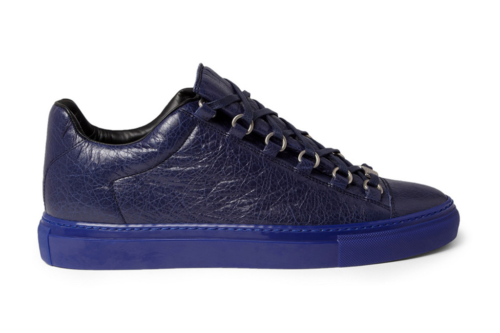 Image of Balenciaga Arena Creased Navy Leather Sneakers