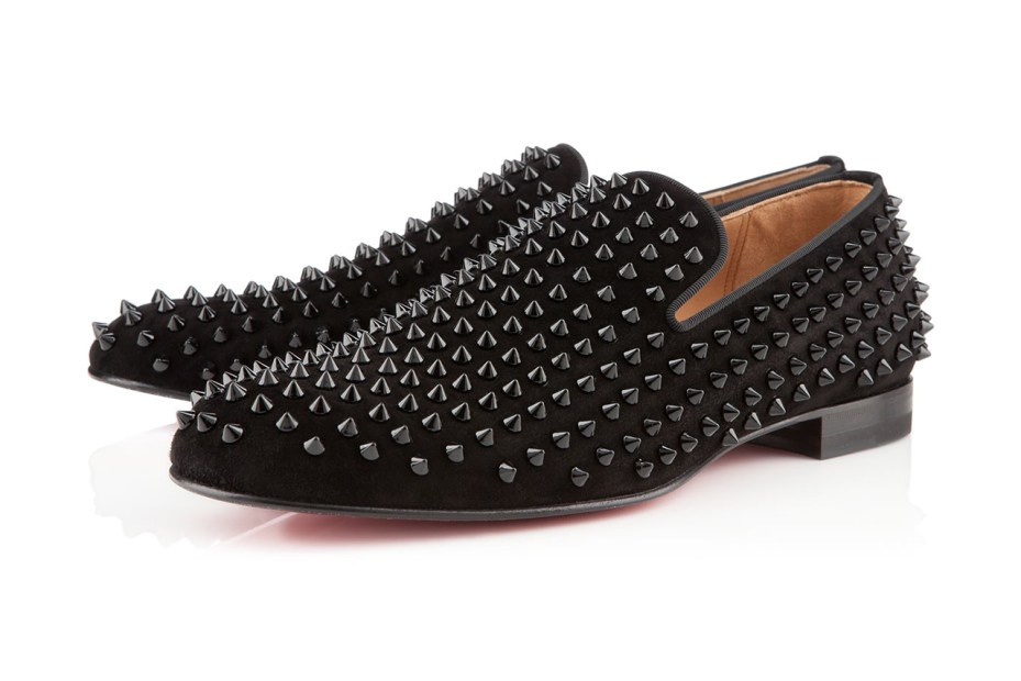 Image of Christian Louboutin Rollerboy Spikes Flat Veau Velours