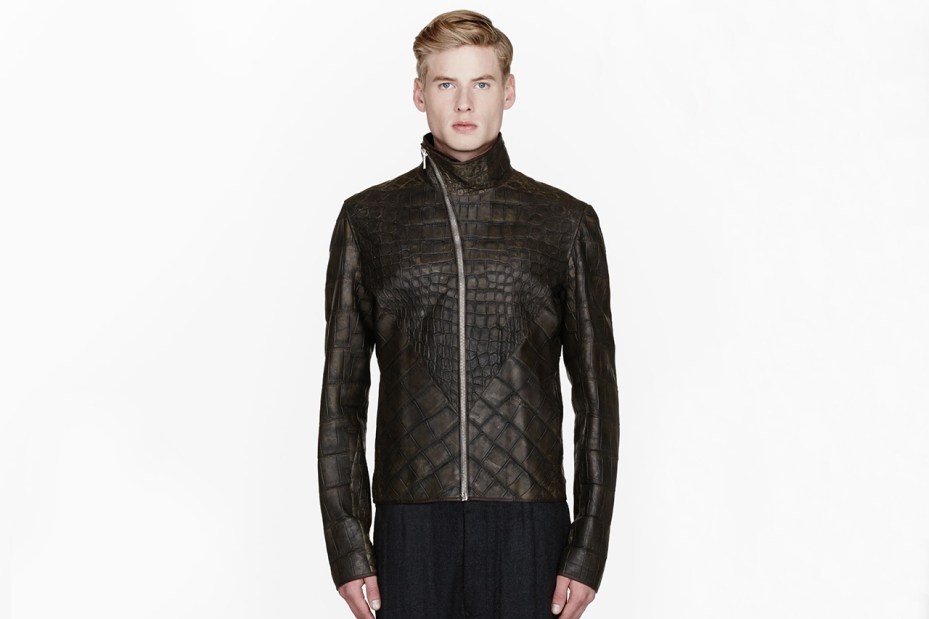 Image of Rick Owens Olive Wild Alligator Leather Hun Jacket