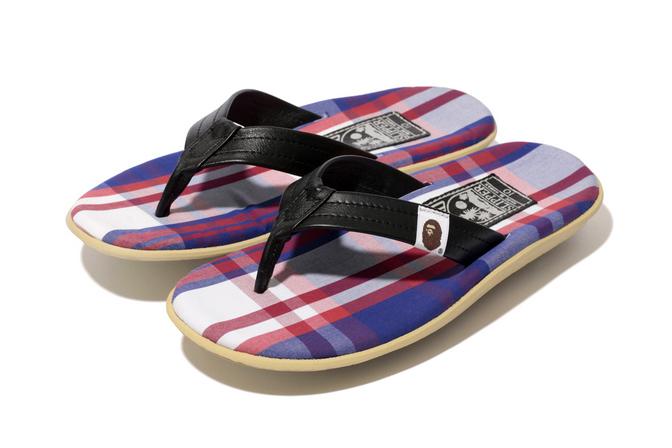 "f9a0dd43951a A Bathing Ape x Island Slipper 2014 Spring Summer ""BAPE CHECK"" Sandal"