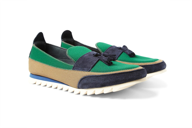 Image of Kolor Suede and Neoprene Tasseled Loafers