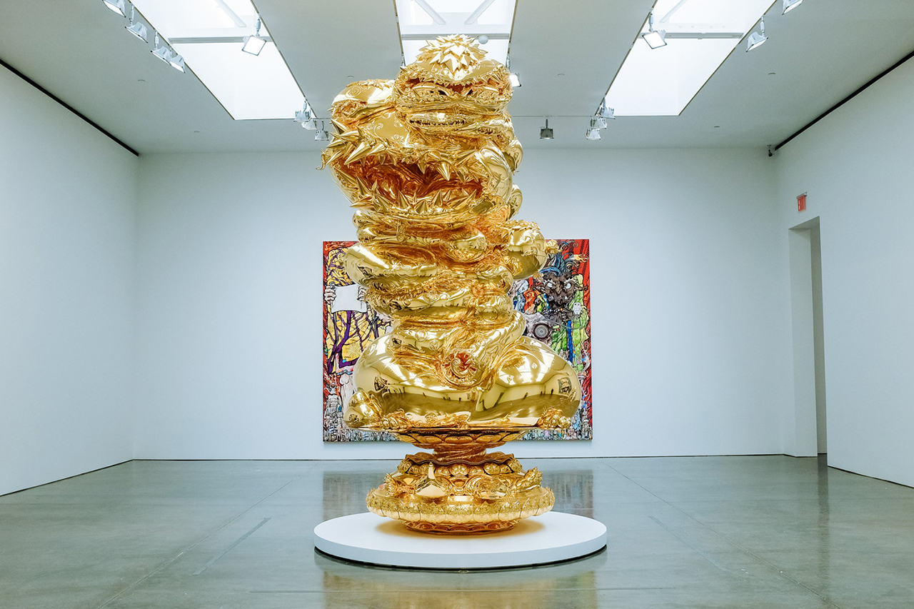 "Image of Takashi Murakami ""In the Land of the Dead, Stepping on the Tail of a Rainbow"" @ Gagosian Gallery New York"