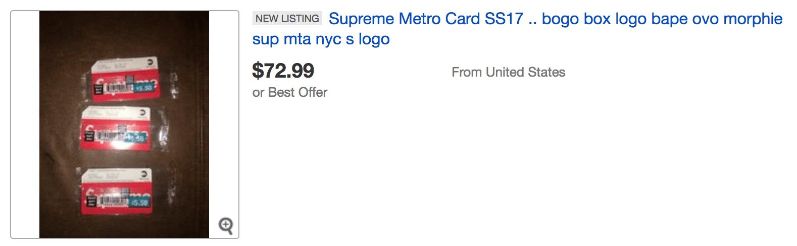 The Supreme MTA MetroCard NYC