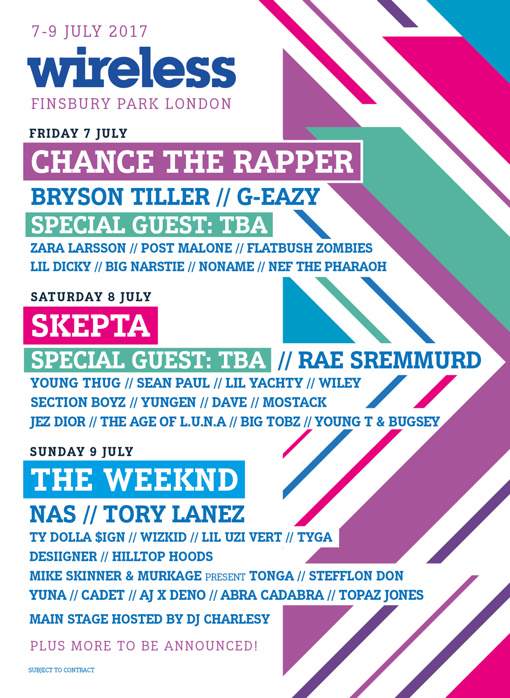The Weeknd Skepta Chance The Rapper Headline 2017 Wireless Festival